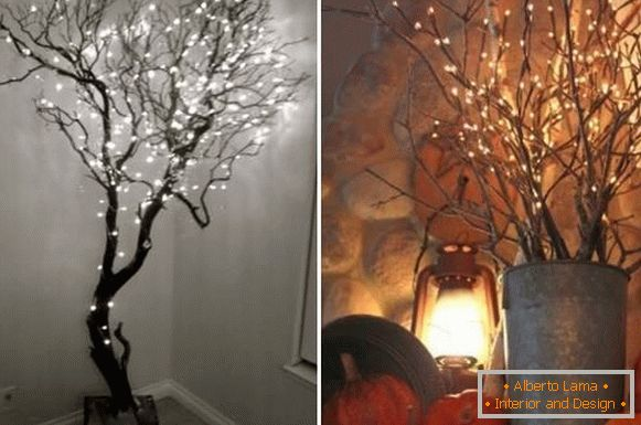 Crafts from natural materials and light-emitting diodes