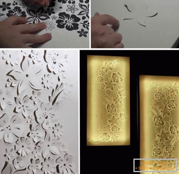 Paper wall decorations with backlit paper