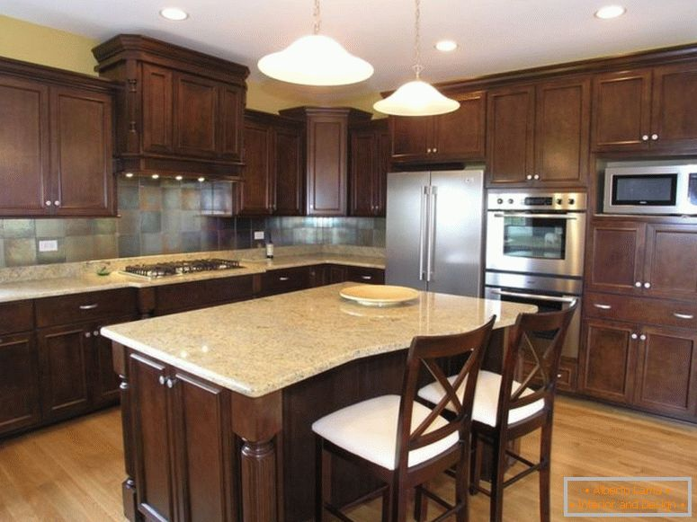 dark-brown-laminated-wooden-island_brown-iron-classic-chandelier beige-tile-backsplash backsplash-tile-color dark-kitchen-cabinets-granite