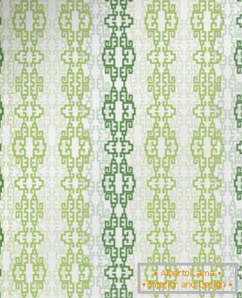 Wallpaper with striped green ornament