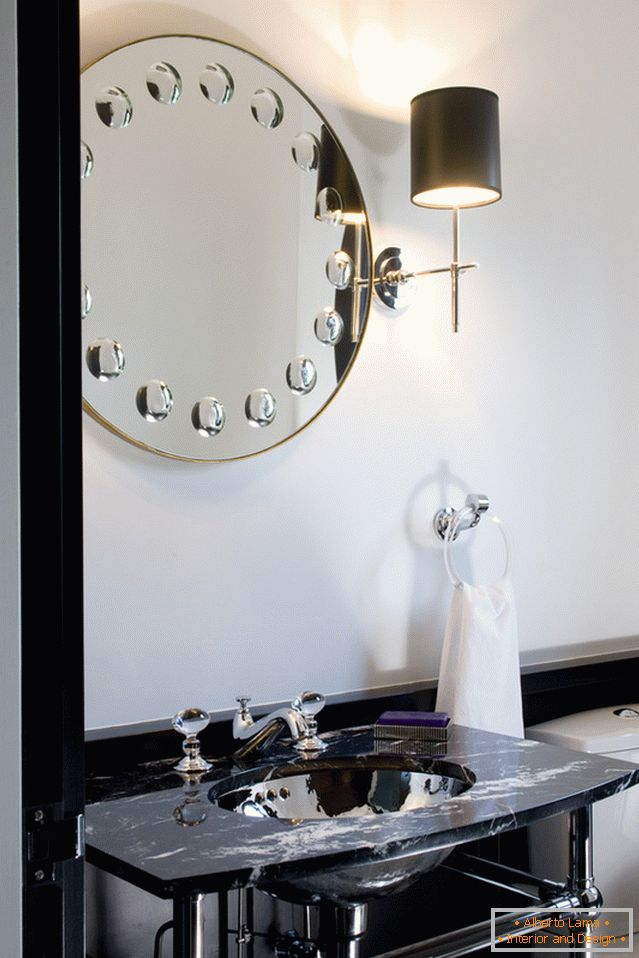 Mirror with illumination in the bathroom