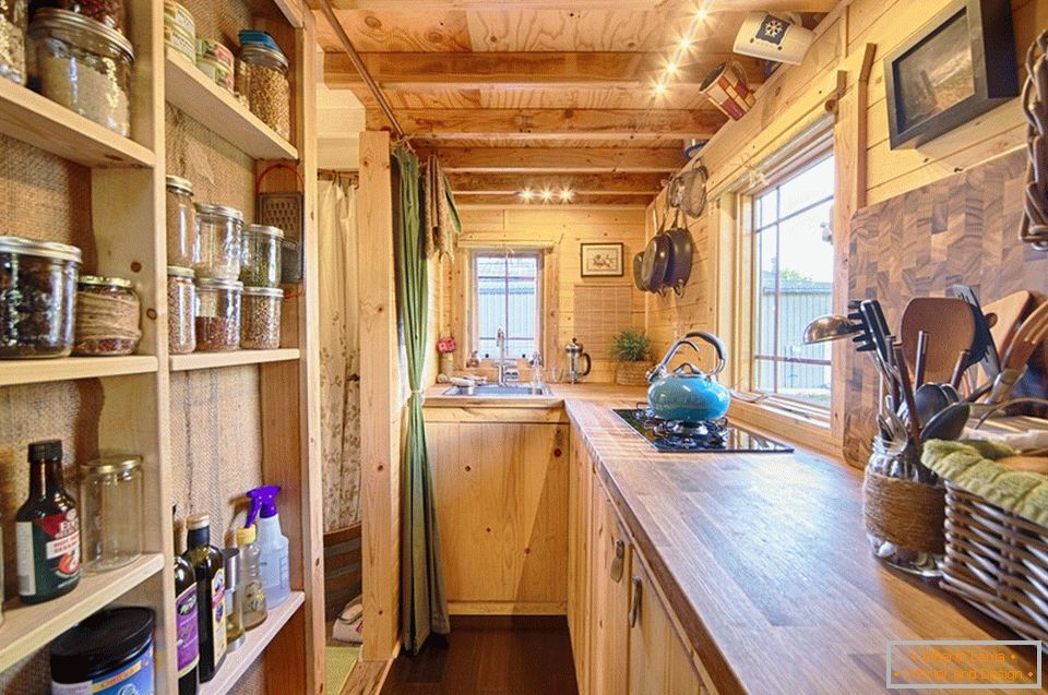 Kitchen of a small wooden cottage