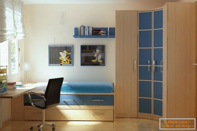 nice-accent-modern-small-bedrooms-wall-colors-featuring-single-bed-which-has-storage-drawers-connected-with-corner-curved-wooden-wardrobe