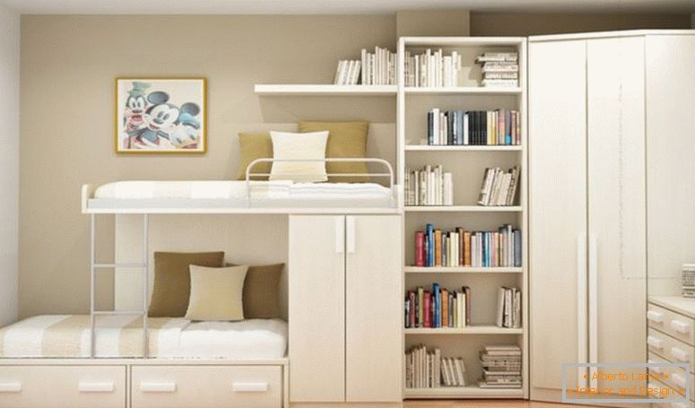 white-wooden-bunk-bed-with-storage-also-drawers-combined-with-books-shelves-and-corner-wardrobe-on-the-corner-of-cream-wall-room