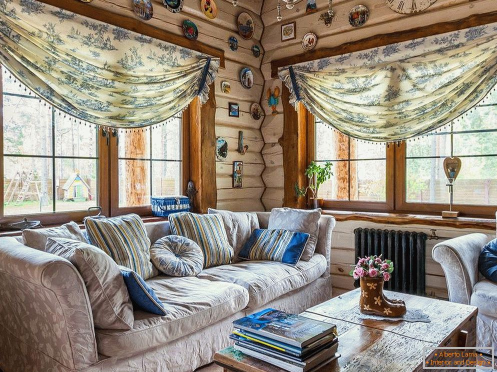 Country style in the interior of the living room