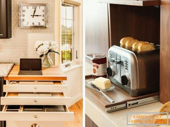 Drawers and shelves for kitchen appliances