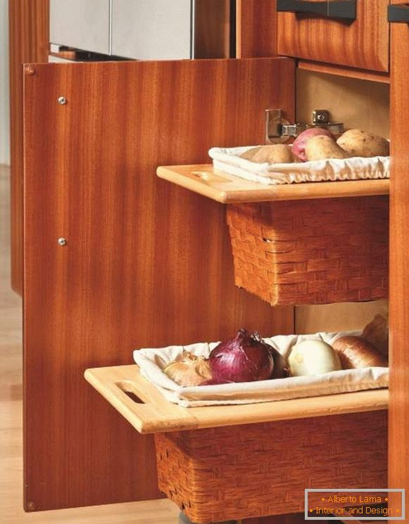 Retractable baskets for storing vegetables in the kitchen