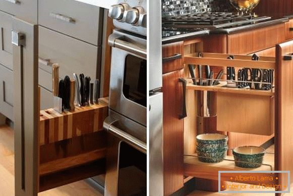 Drawers for knives and dishes in the kitchen