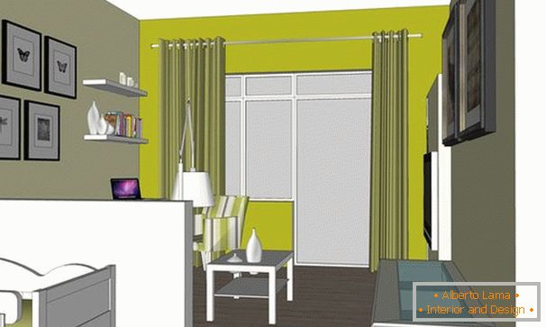 The layout of a two-room apartment