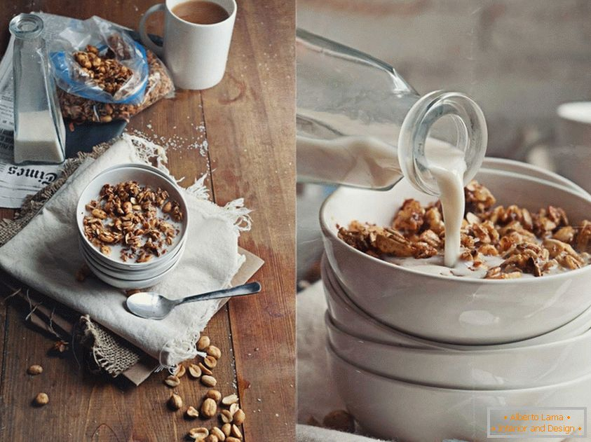 Vanessa Rees - light dairy breakfast with nuts and flakes