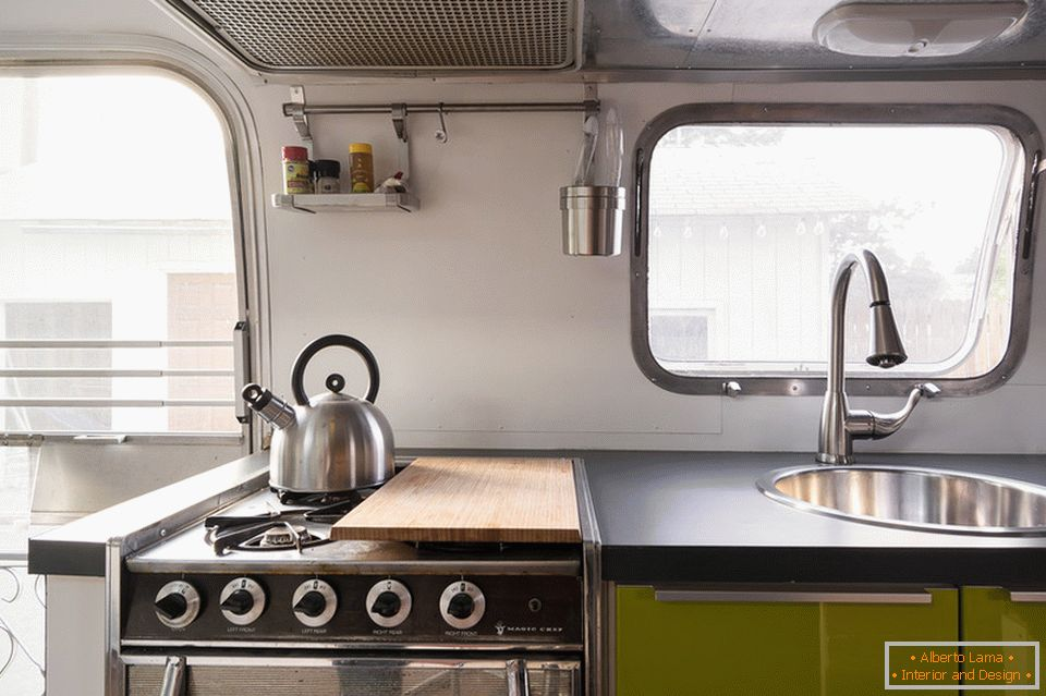 Kitchen interior in the trailer