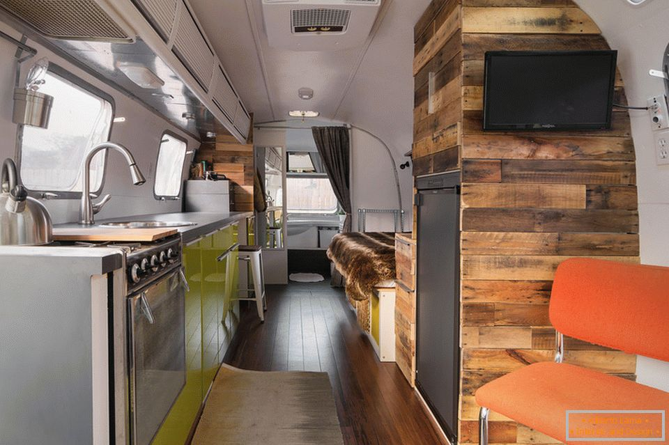 Interior of the caravan on wheels
