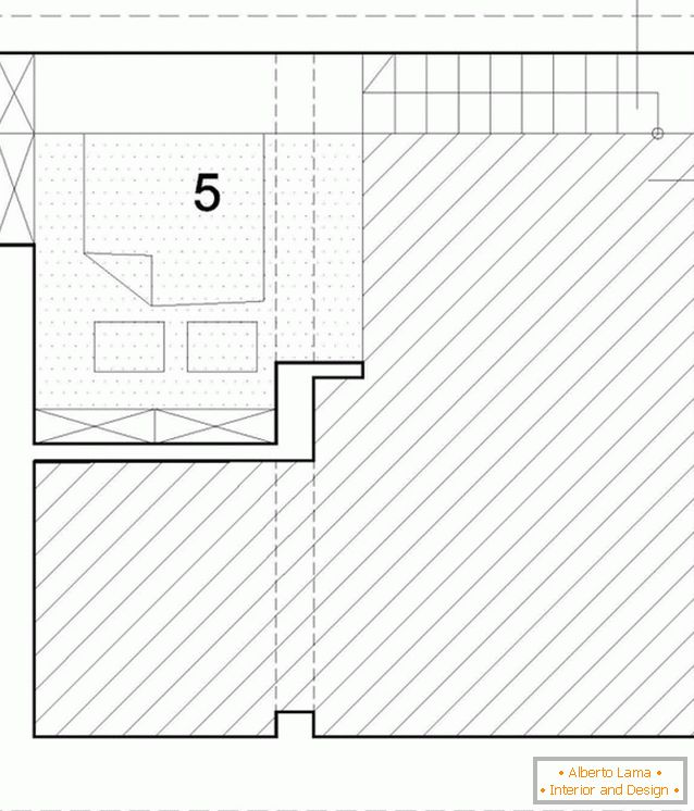 Planning of the second level of a two-storey studio apartment in Poland