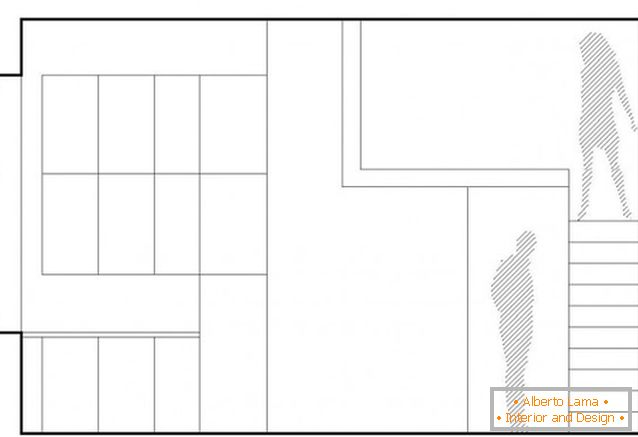 The layout of a two-storey studio apartment in Poland