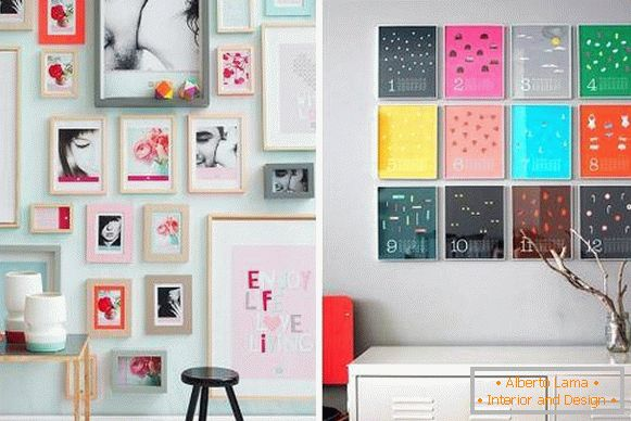Frames on the walls - spring decor of the interior with your own hands