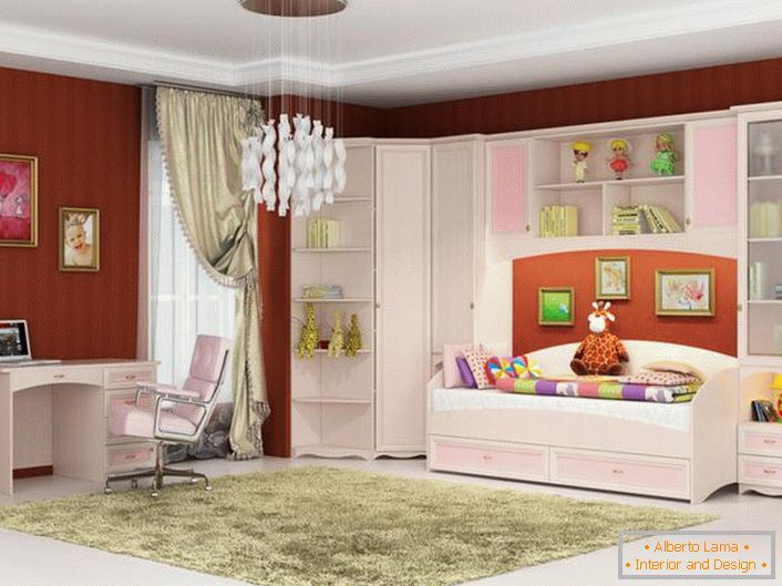 A stylish room for a young fashionista. Modular furniture for children is made in pink and white color - what you need for a girl.