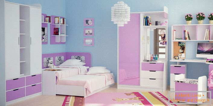 Pale pink in combination with white is suitable for decorating modular furniture for a young lady. Finishing the walls of blue color favorably focuses on the furniture set.