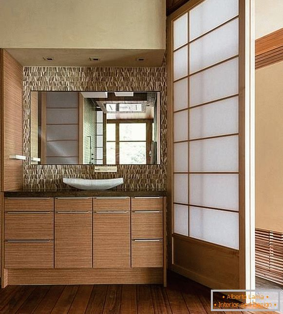Design of a bathroom in Japanese style