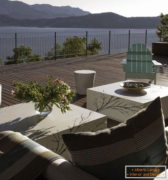 Fashionable design of a large balcony