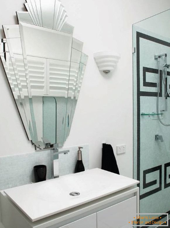 Unusual mirror without rim for the bathroom