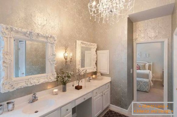 Classic bathroom mirrors with stucco moldings