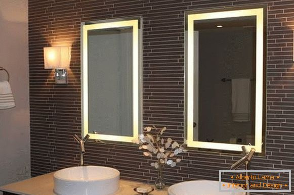 Rectangular mirrors with backlight for bathroom