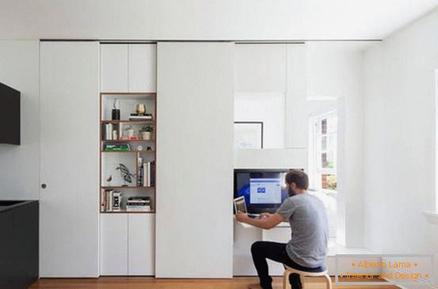 Modular wall in the interior of the apartment: working corner