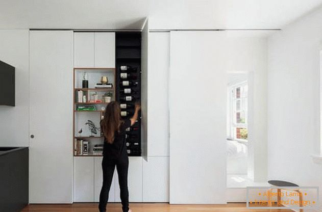 Modular wall in the interior of the apartment: functional boxes