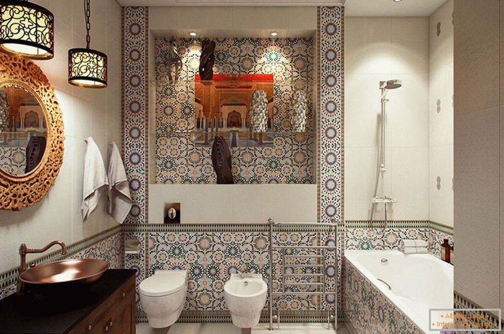 Tile with patterns in the bathroom
