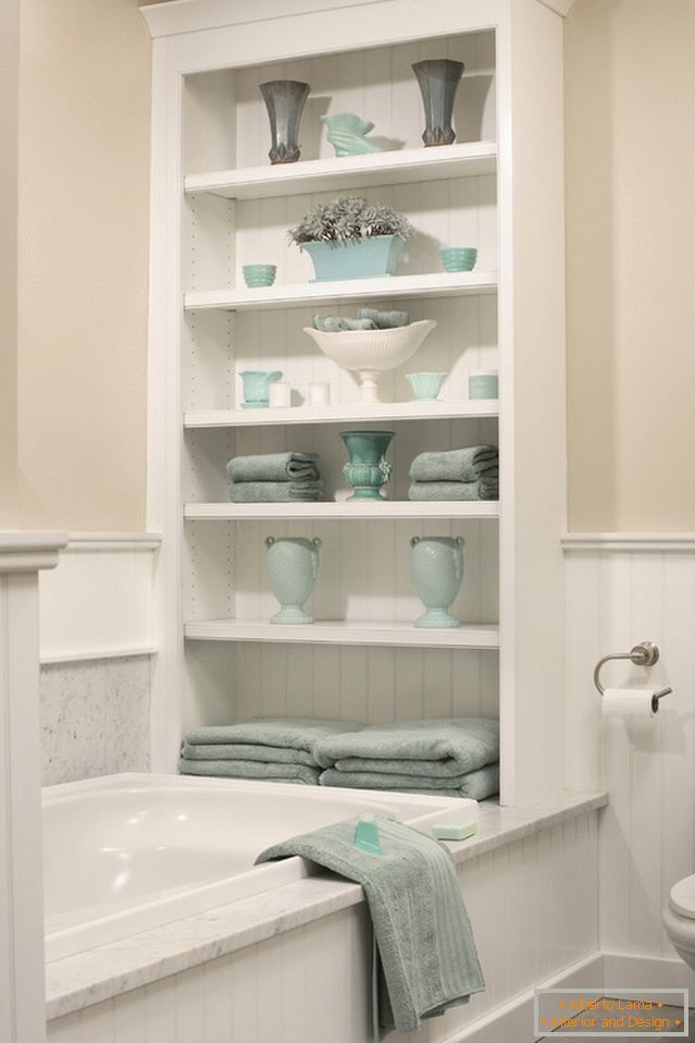 Shelving for bathroom accessories in the bathroom