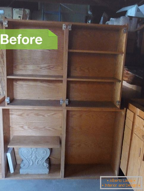 Wooden cabinets before conversion