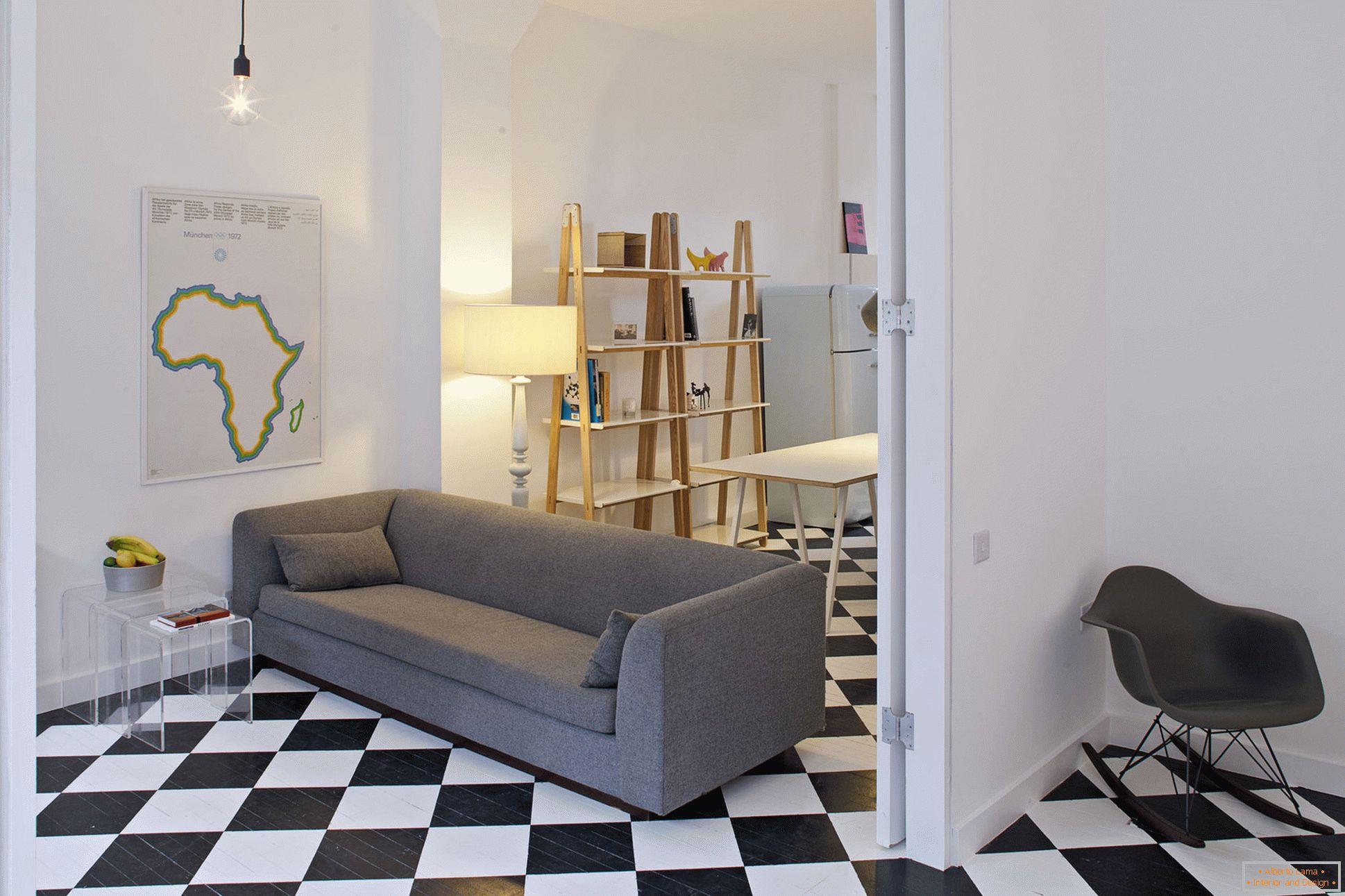 Wonderful interior of a small studio apartment in the loft