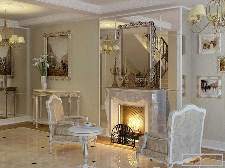 Luxurious interior with a fireplace