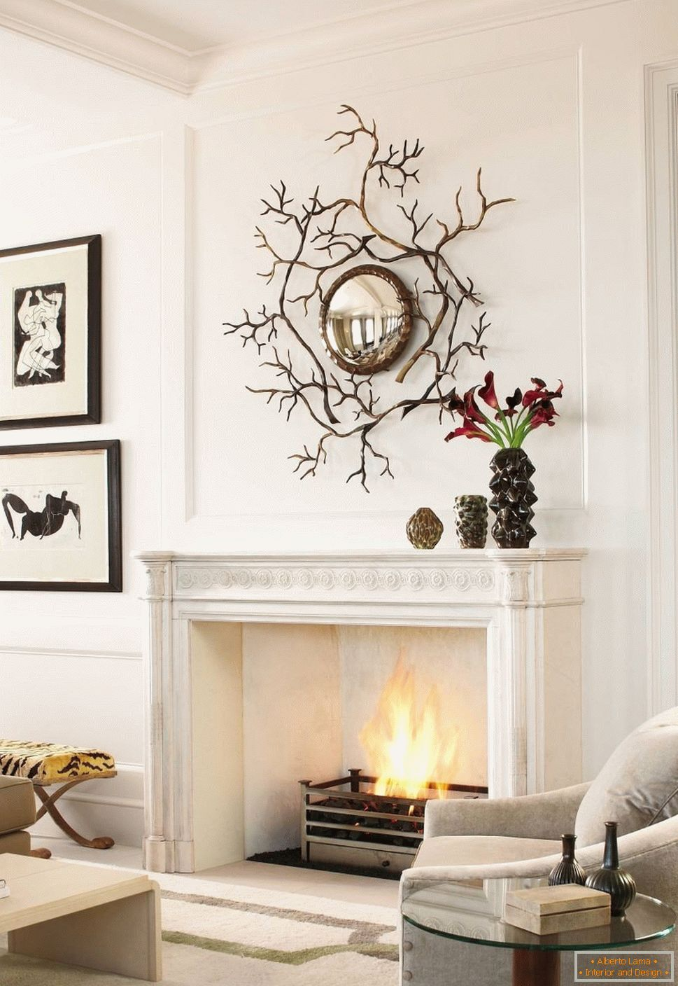 Interesting decoration of the mirror over the fireplace