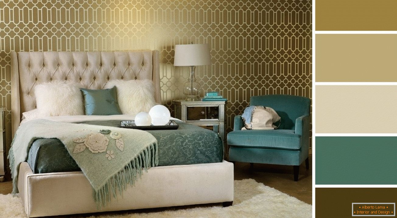 Wall decoration in the bedroom with wallpaper in gold tones