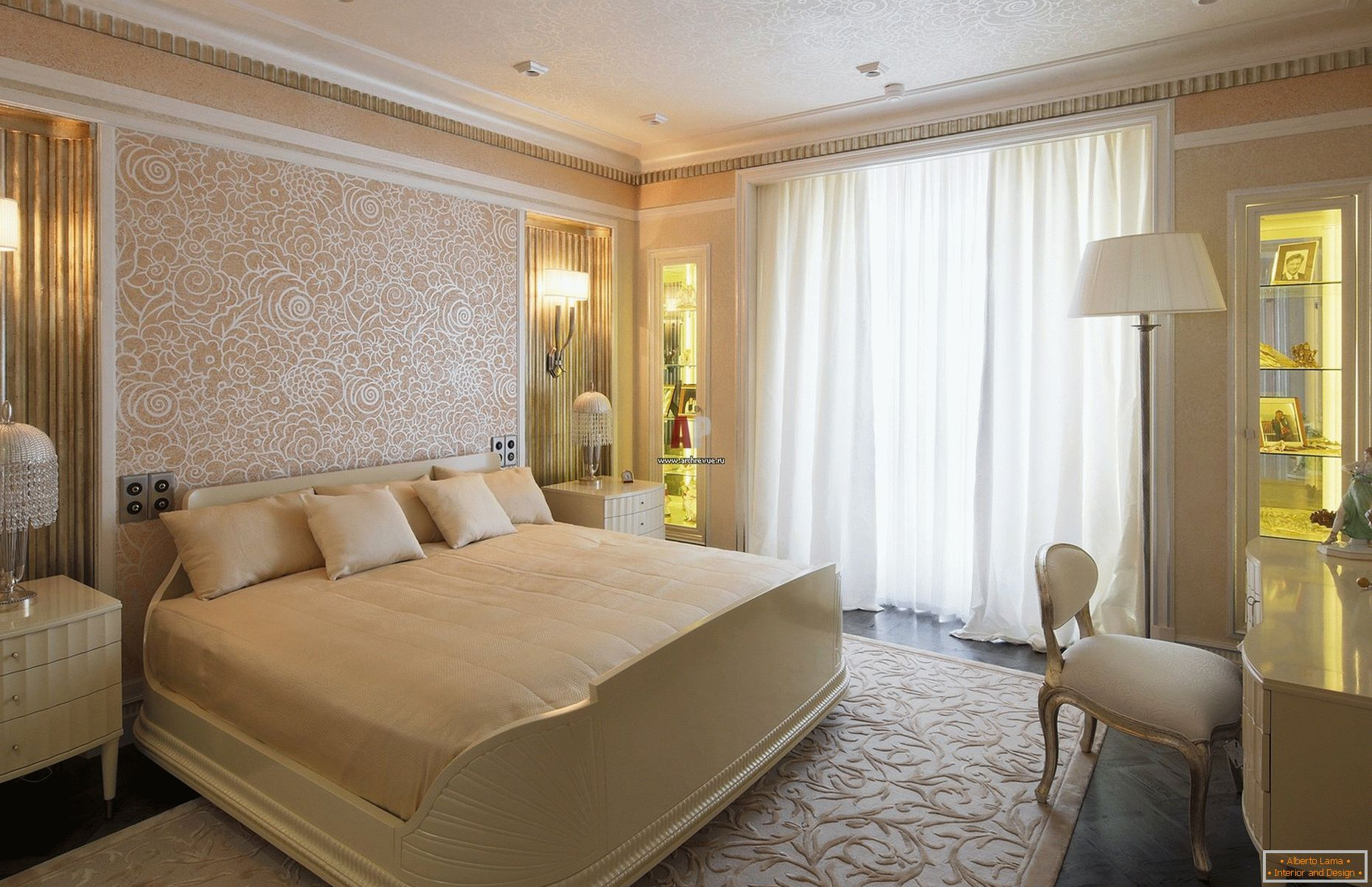 Peach and gold shades in the design of the bedroom