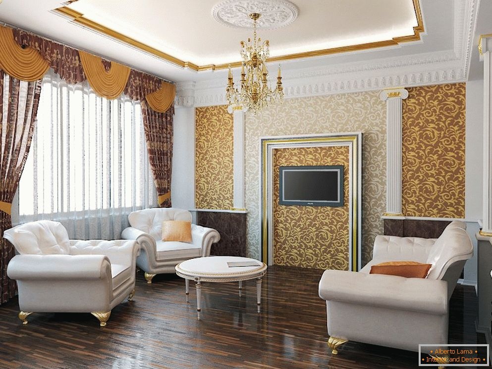 Shades of gold and white in the interior of the living room