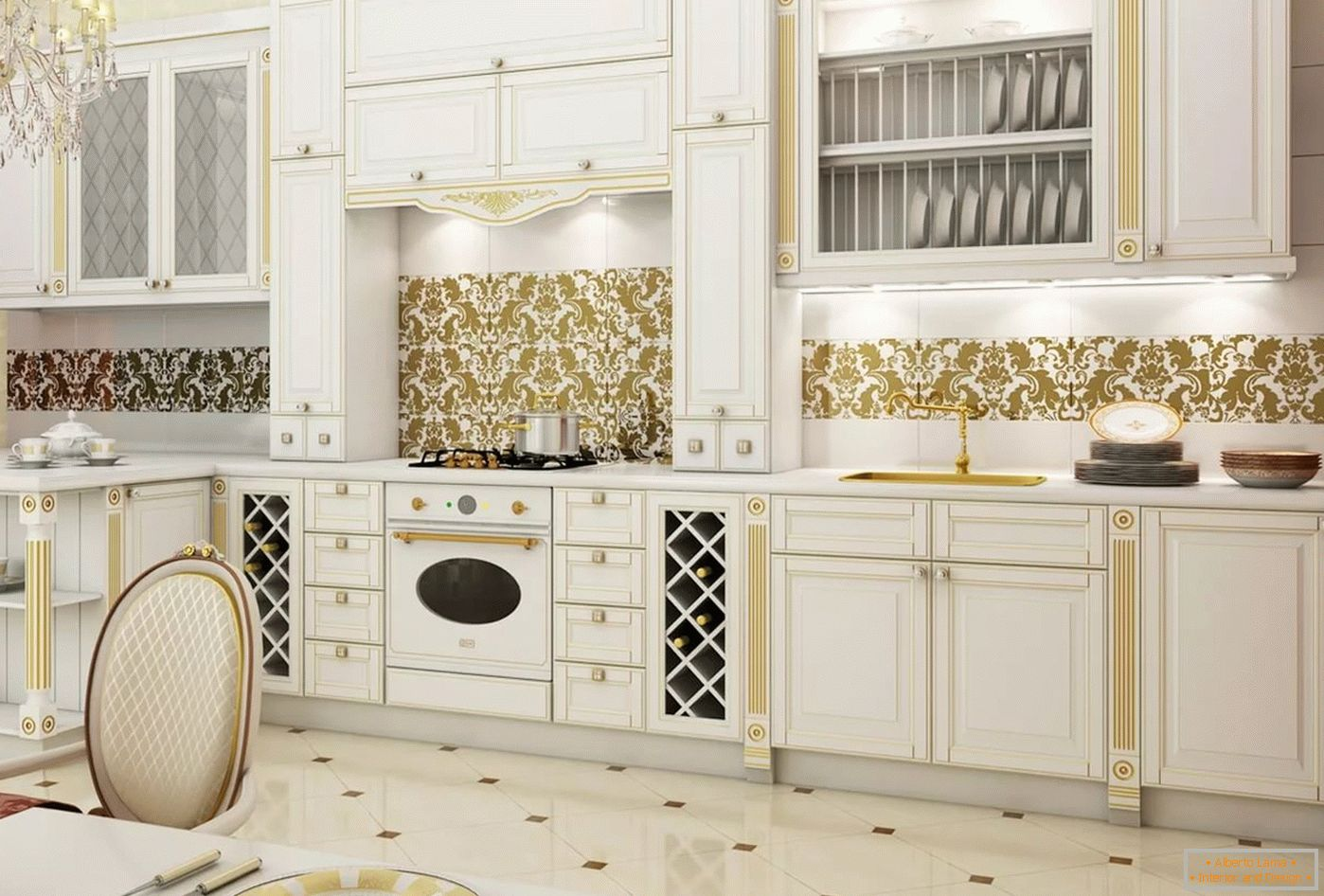 White and gold in the interior and design of the kitchen